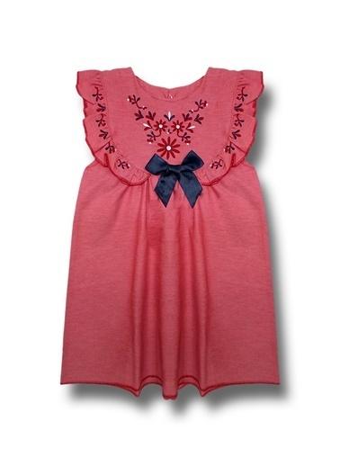 By Leyal For Kids Nakışlı Keten Elbise Renkli